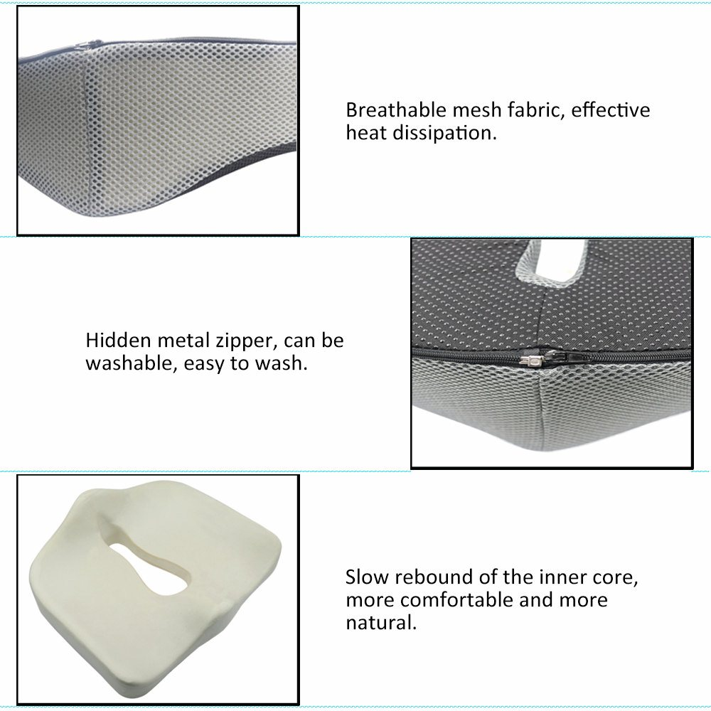 Valuetom Memory Foam Chair Pads Coccyx Low Back Pain Seat Cushion