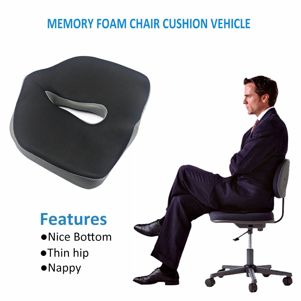 Valuetom Memory Foam Chair Pads Coccyx Low Back Pain Seat Cushion for Car fice